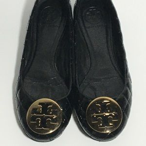 TORY BURCH  7M Black Leather Quilted Ballet Flats